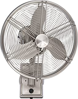 Craftmade FAR14BNK3W, Faraday Brushed Polished Nickel Outdoor Wall Fan with 3 blades, 14