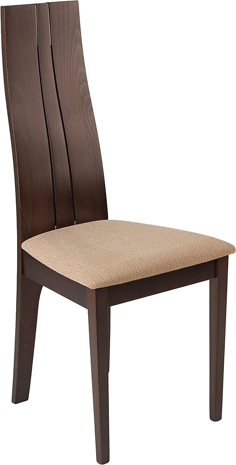 Flash Furniture Essex Espresso Finish Wood Dining Chair with Brown Fabric Seat