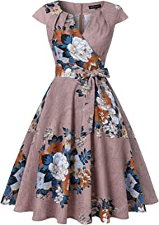 MINTLIMIT Women's Vintage 1950s Retro Cap-Sleeves V-Neck Rockabilly Swing Cocktail Dresses with Pockets and Belt