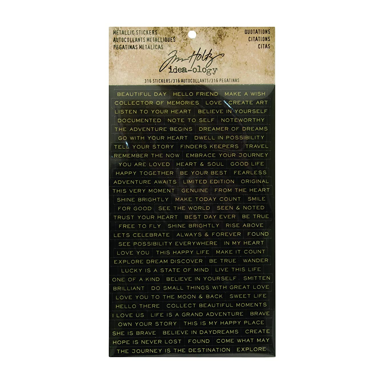 Quotations Metallic Stickers by Tim Holtz Idea-ology, 0.25 Inch Tall Each, 316 Word Stickers (TH93559)