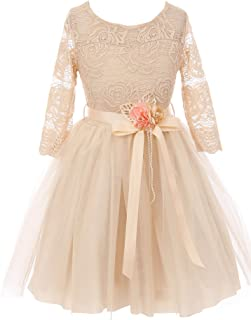 Floral Lace Top Tulle Flower Holiday Party Flower Girl Dress USA