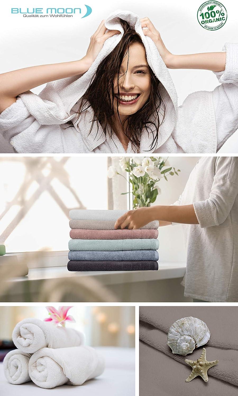BLUE MOON Juego de toallas biol/ógicas antracita, 6 unidades de 30 x 50 + 4 unidades de 50 x 90 cm