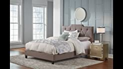 Pulaski Low Profile Tufted Upholstered Bed Frame 65 75 X 88 19 X 68 5 Queen Taupe Grey Furniture Decor