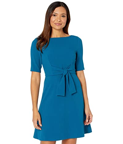 Vince Camuto Kors Crepe Tie Front A-Line Dress (Teal) Women