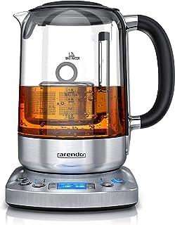 Arendo - Bouilloire Électrique 1,7L, théière en verre, thermostat 70°-100° par incrément de 5°, filtre à thé avec infusion...