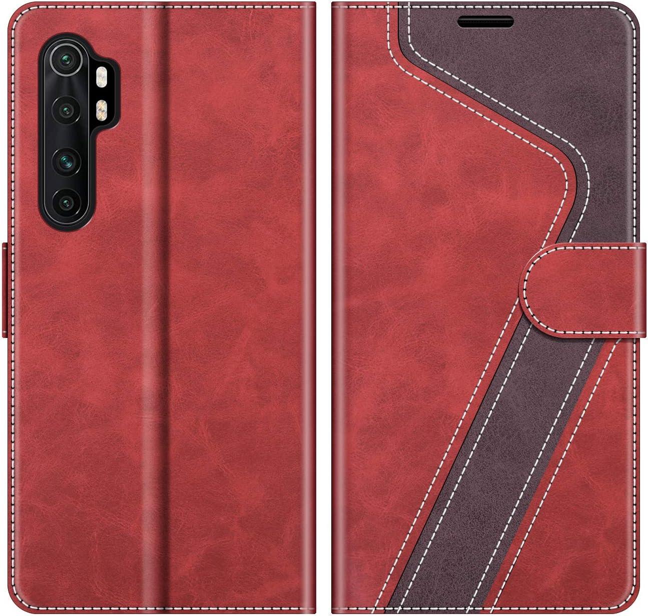 MOBESV Funda para Xiaomi Mi Note 10 Lite, Funda Libro Xiaomi Mi Note 10 Lite, Funda Móvil Xiaomi Mi Note 10 Lite Magnético Carcasa para Xiaomi Mi Note 10 Lite Funda con Tapa, Rojo