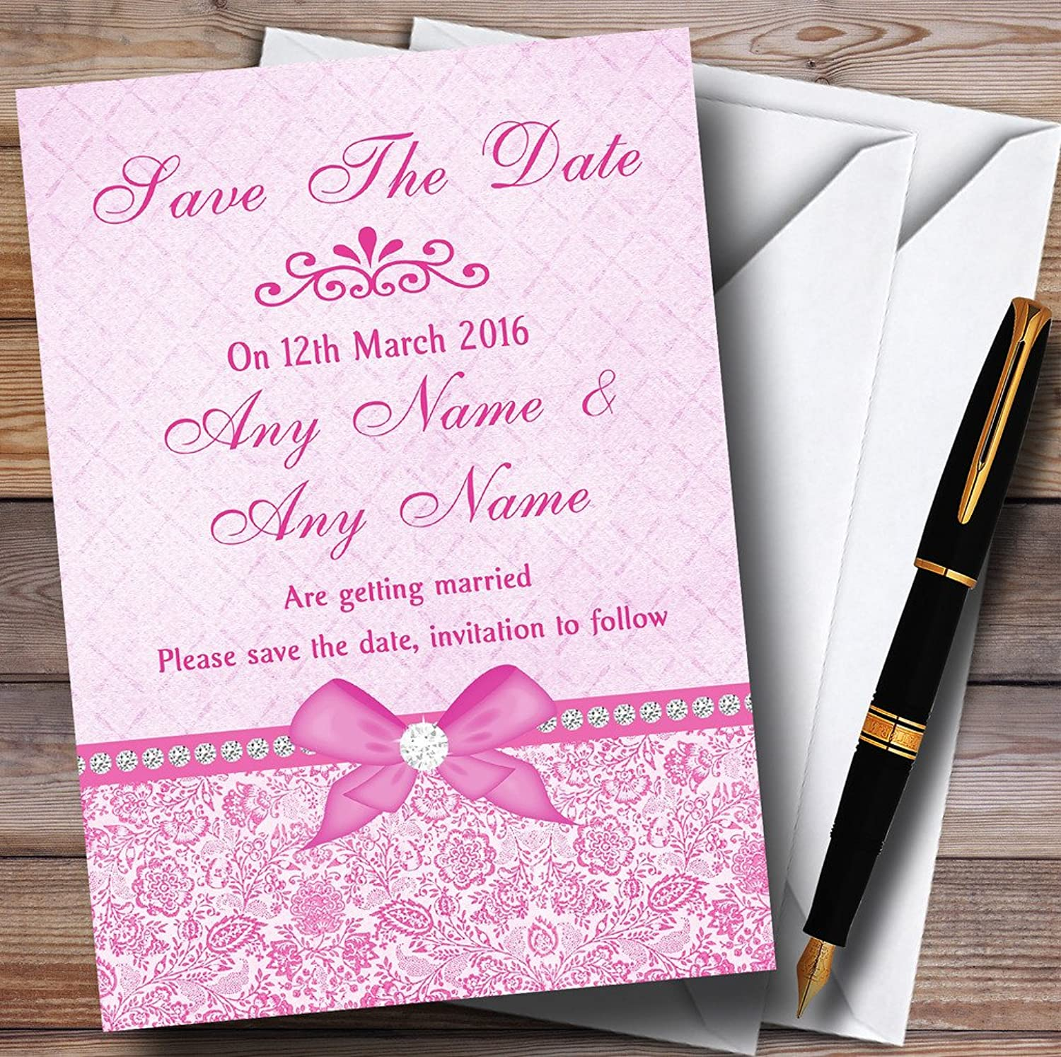 Pretty Floral Vintage Bow & Diamante Pink Personalised Wedding Stationery Save The Date ...