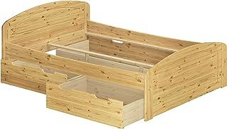 Erst-Holz Cadre de lit Adulte Extra Haut pin Massif 140x200 idéal pour Les Personnes âgées, tiroir 60.50-14oR