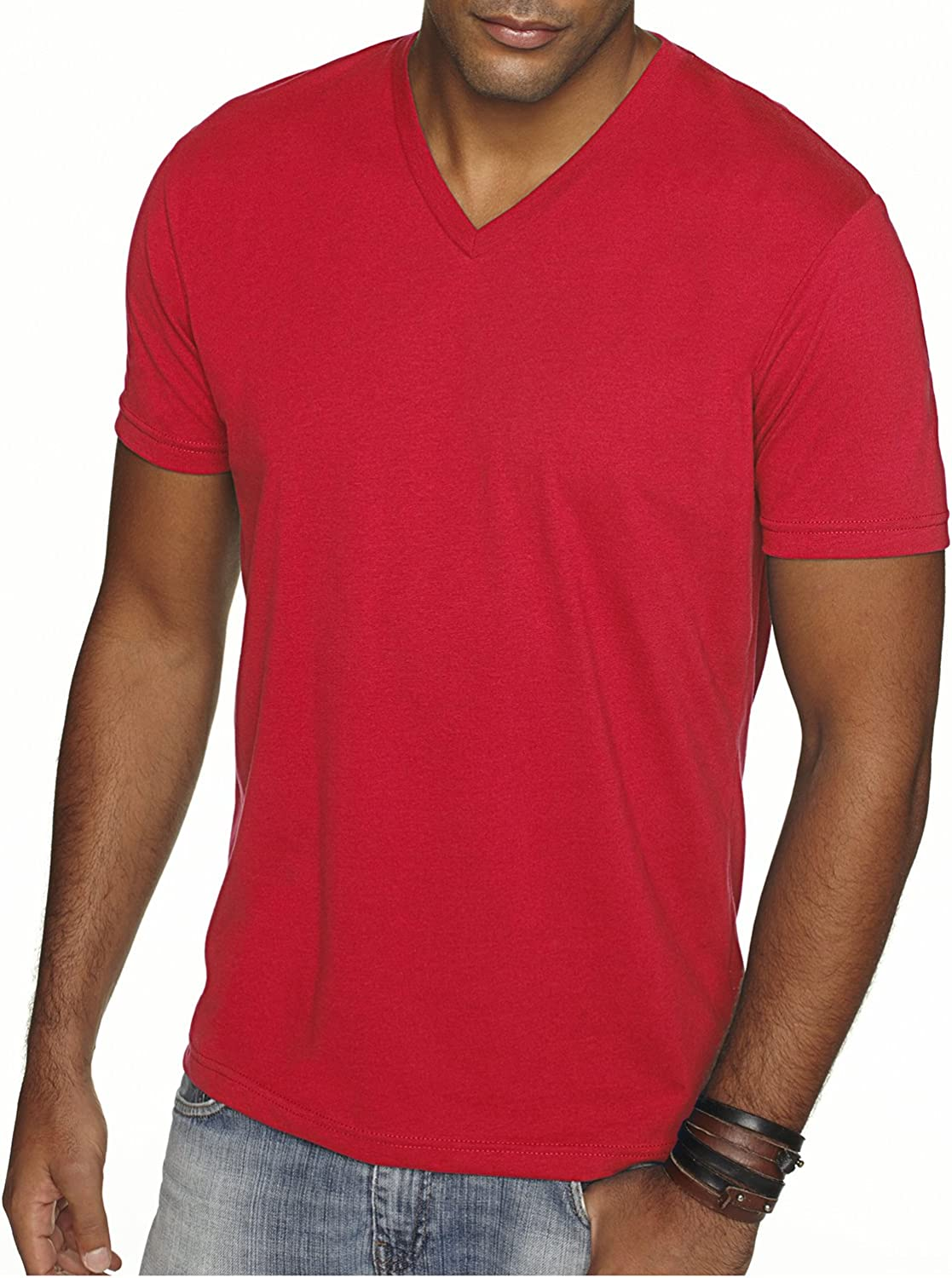 Next Level Men's Sueded Baby Rib Soft V-Neck T-Shirt, Red, Large