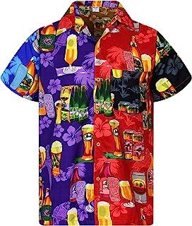 V.H.O Funky Hawaiian Shirt Men Short-Sleeve Front-Pocket Hawaiian-Print Every Shirt is a Unique Mix Beerbottledesigns