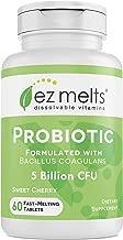 EZ Melts Probiotic with Bacillus Coagulans, 5 Billion CFU, Sublingual Vitamins, Vegan, Zero Sugar, Natural Cherry Flavor, 60 Fast Dissolve Tablets