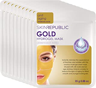 Skin Republic Gold Hydrogel Face Mask Treatment Infused With Real Gold Promotes Firmer Skin One Mask Per Pack 10 Pack