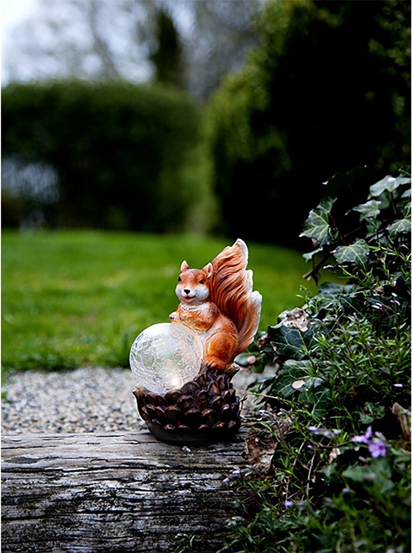 Kamaca EICHH/ÖRNCHEN MIT LEUCHTKUGEL Solar Eichh/örnchen LED SOLAR Figur Tier Solar-Dekorationsleuchte mit integriertem Solarpanel originelle witzige Gartendeko die Nicht jeder im Garten hat