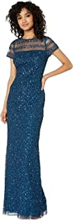 Adrianna Papell Women's Full Beaded Cap Sleeve Illusion Evening Gown