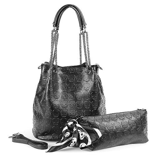 5ca82d9e4413 Womens Skull Hobo Tote Bag Chain Shoulder Bag Gothic Handbag Set