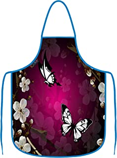ICOLOR Purple Butterfly Cooking Apron,Funny BBQ or Kitchen Aprons,Machine Washable,Premium Quality Bib Aprons for Women and Men,Ideal for Kitchen,Parties,Garden,Camping & More | AP-20