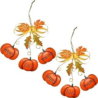 Gift Boutique Pumpkin Thanksgiving Door Hanger Decorations Set of 2 Happy Fall Welcome Signs Metal Hanging Wall Decor for Autumn Wreath Indoor Outdoor Kitchen Home Front Door Harvest Plaque