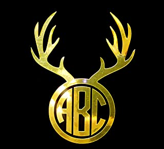 Eggleston Design Co Custom Metallic Deer Antler Circle Monogram Letter Initial Sticker Decal for Tumbler Cups, Laptops, Car Windows (fits Yeti and RTIC Cups) (3