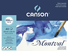 Canson Montval 200gsm Watercolour Practice Paper pad Including 40 Sheets, Size:24x32cm, Natural White and Cold Pressed (Not)