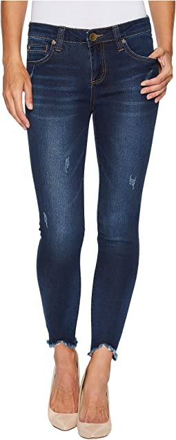 KUT from the Kloth Connie Ankle Skinny-w/ Uneven Hem in Benefic w/ Dark Stone Base Wash