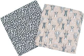 Bebe au Lait Luxury Muslin Swaddle Blanket Set, Safari and Leopard