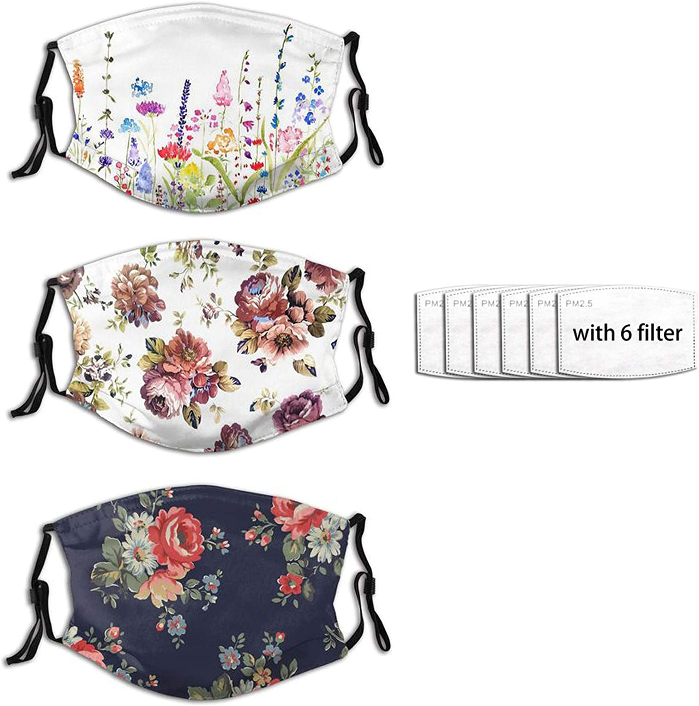 3pcs Flower Mask,Flower Daisies Floral Face Mask Unisex Balaclava Washable Reusable Cloth Fashion Scarf