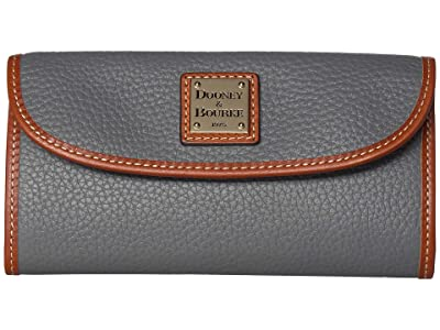 Dooney & Bourke Pebble Leather New SLGS Continental Clutch (Slate/Tan Trim) Clutch Handbags
