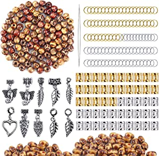 OPount 310 Pieces Dreadlocks Beads DIY Hair Braid Accessories with Natural Painted Wood Beads, Braid Rings Hair Hoops, Dreadlocks Beads and Hair Clips for Hair Decoration
