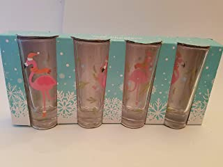 Set of 4 Flamingo wearing Santa Hats Tall Shooter shot glasses! (left side of box has tear)