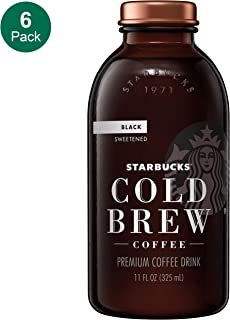 Starbucks Cold Brew Coffee, Black Sweetened, 11 oz Glass Bottles, 6 Count