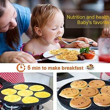 KUTIME Pancake Pan Pancake Griddle Flip Cooker Pancake Maker with 7 Flapjack Faces Waffle Maker Non-stick Breakfast P...