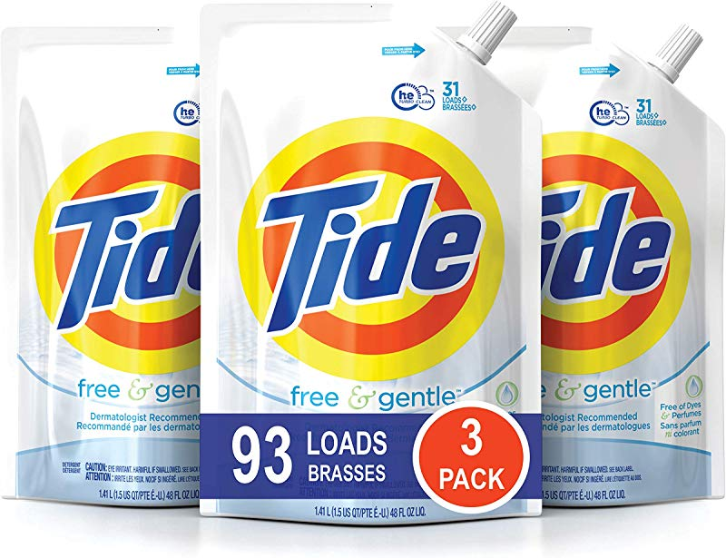 Tide Free And Gentle HE Laundry Detergent 3 Pack Of 48 Oz Pouches Unscented And Hypoallergenic For Sensitive Skin 93 Loads