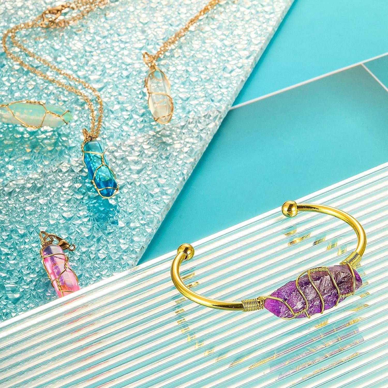 2 Pieces Wrapped Gemstone Cuff Bracelet Wire Healing Stone Bracelet Women Golden Cuff Bangle Adjustable Wrapped Gemstone Cuff Bracelet for Women Girls Jewelry