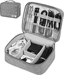 Hcfgs Electronic Organizer Travel Cable Organizer Universal Electronics Accessories Cases for USB Cable Cord, Flash Drive, Charger, Phone, Hard Drive, SD Card, iPad (Grey)
