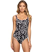 Tommy Bahama - Pinwheel Palms Reversible Laced-Back One-Piece Swimsuit