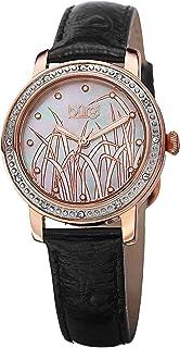 ساعة بورغي للنساء بمينا لون ابيض/عرق اللؤلؤ بسوار من الستانلس ستيل - Bur096Rg، سوار اسود، عرض انالوج