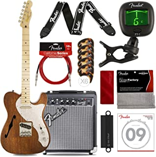 Squier by Fender Classic Vibe Telecaster Custom Beginner Electric Guitar, Natural with FRONTMAN 10G Amp, Tuner, Strap, Strings, Picks, Cable & Cloth Platinum Bundle
