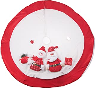 Clever Creations Red and White Christmas Tree Skirt Design with Santa and Snowman | Classic Holiday Decor | Catches Falling Needles Aids in Cleanup | Perfect for Any Size Tree | 42