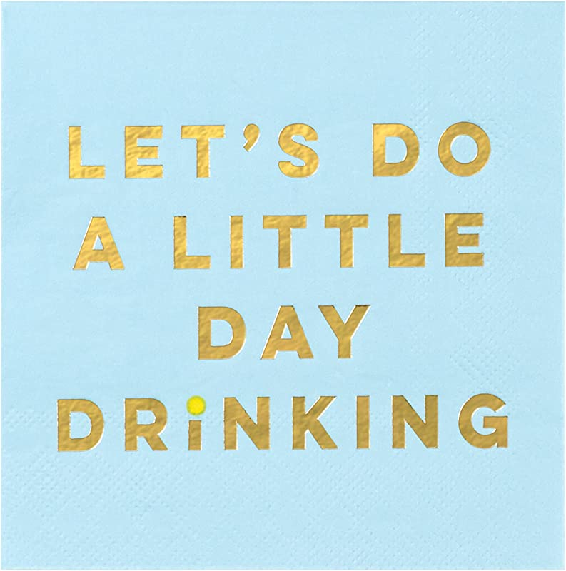 C R Gibson Blue Let S Do A Little Day Drinking Paper Cocktail Napkins 20pc 5 5 X 5 5