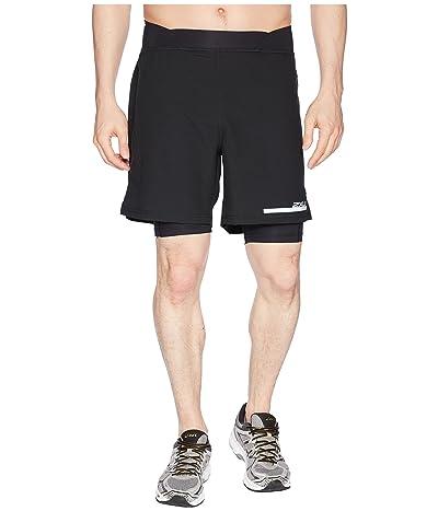 2XU Run 2-in-1 Compression 7 Shorts (Black/Silver) Men