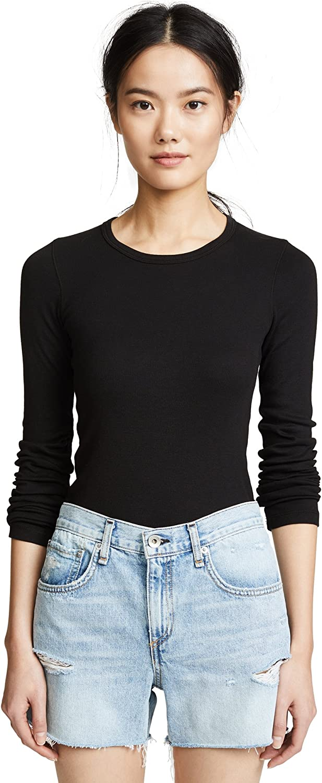 Splendid Women's Nashville-Davidson Mall 1x1 Rib Crew T-Shirt Oklahoma City Mall Long-Sleeve Top