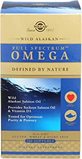 Solgar Wild Alaskan Full Spectrum Omega, 120 Softgels - Supports Heart, Brain, Bone and Skin Health - Provides Vitamin D3 ...