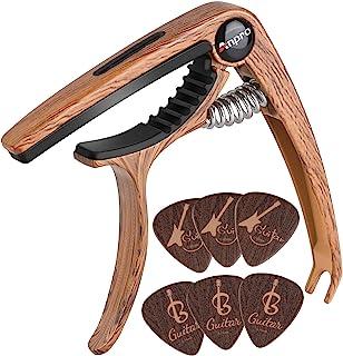 Anpro capodastre Guitare,Capo de Guitare en Grain de Bois avec 6 Mediators Unique, pour Guitare Acoustique et électrique, ...