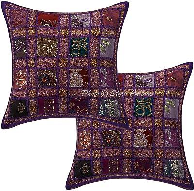 Stylo Culture Purple Cotton 16x16 Sequins Patchwork Coussin Indien Géométrique Couvertures Set De 2