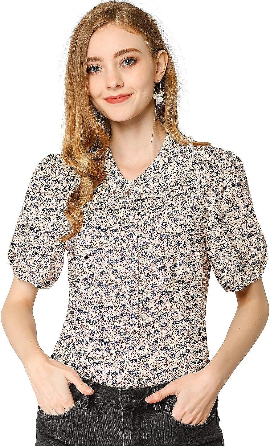 Allegra K Women's Ruffle Peter Pan Collar Button Down Puff Sleeves Floral Print Shirt Top