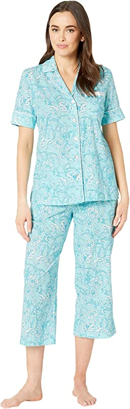 Notch Collar Capris Pajama Set
