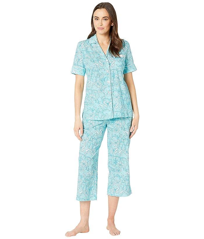 Carole Hochman Notch Collar Capris Pajama Set (Aqua Floral) Women