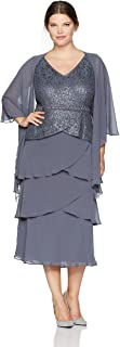 Women's Plus Size Two Piece Capelet Jacket with Sleeveless Tier Dress