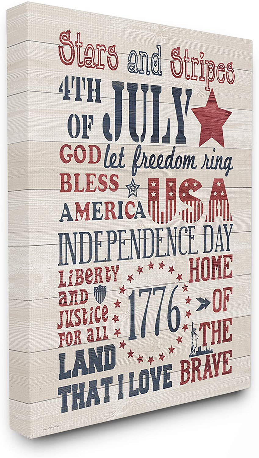 The Stupell Home Decor Stars and Stripes USA Stenciled Typography Rustic Planked Look Sign Stretched Canvas Wall Art 11x14 Multi-color
