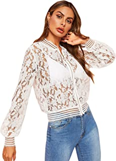 SheIn Women's See Through Long Sleeve Floral Lace Zip Up Bomber Jacket Blazer